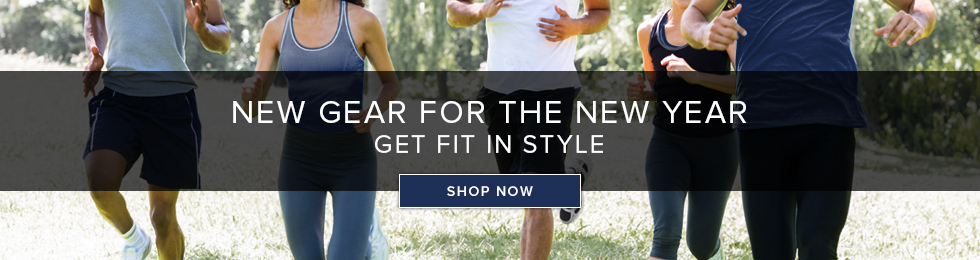 Picture of students jogging. New gear for the New Year, get fit in style. Click to shop now.