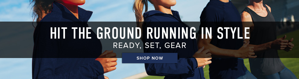 Picture of runners. Hit the ground running in style. Ready, set, gear. Click to shop now.