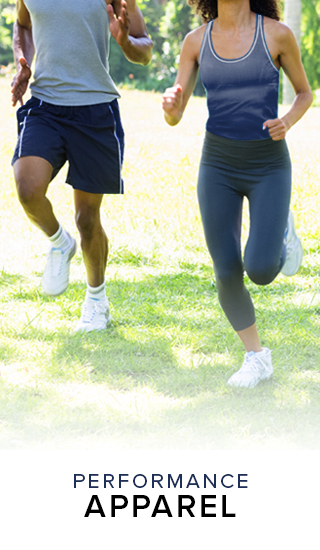 Picture of man and woman running. Click to shop Performance Apparel.